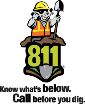 Text: 811. Know what's below. Call before you dig. 811 logo with mole on top of logo wearing a hardhat and speaking on cellphone.