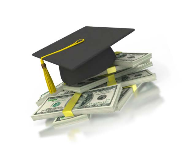graduation cap sitting on top of a pile of paper money